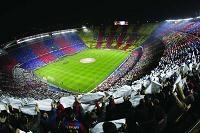 The soccer field of Camp Nou
